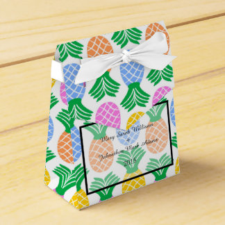 Tropical Pineapple pattern Wedding Favour Box