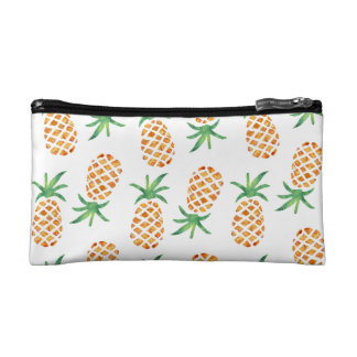 Tropical Pineapple Pattern | White Cosmetic Bag