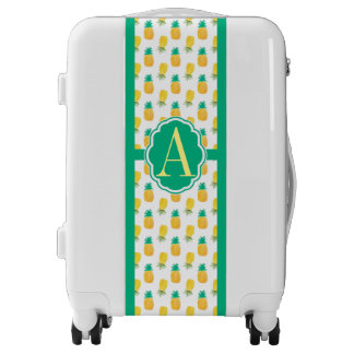 Tropical Pineapple Patterned Monogrammed Luggage