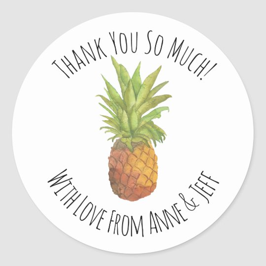 Tropical Pineapple Personalised Thank You Classic Round Sticker