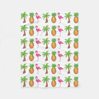 Tropical Pineapple Pink Flamingo Palm Tree Blanket