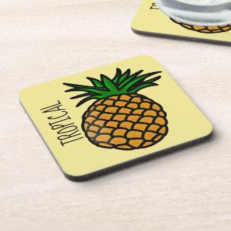 Tropical Pineapple Plastic coasters w/cork back