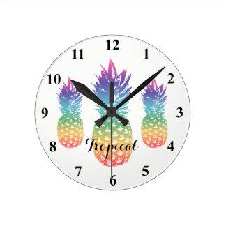 Tropical pineapple print custom kitchen wall clock