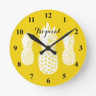 Tropical pineapple print custom wall clock