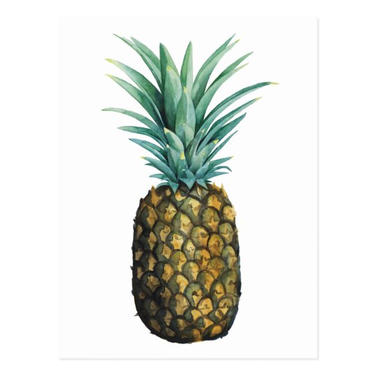 Tropical Pineapple Watercolor Postcard