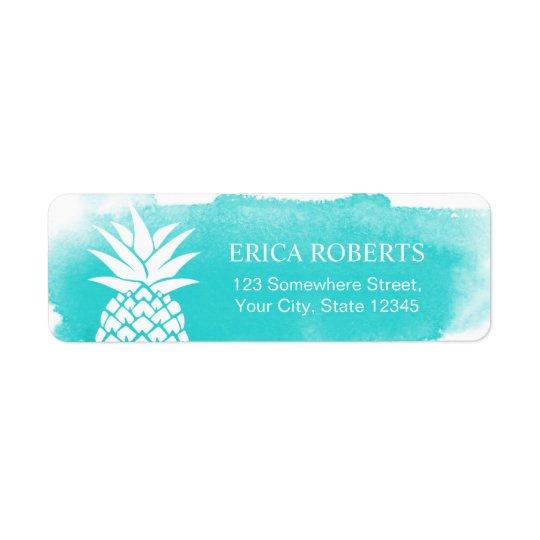 Tropical Pineapple Watercolor Turquoise Hawaiian Return Address Label