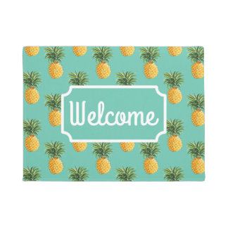 Tropical Pineapples On Teal | Add Your Name Doormat