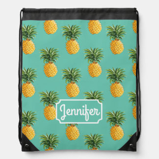 Tropical Pineapples On Teal | Add Your Name Drawstring Bag