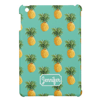 Tropical Pineapples On Teal | Add Your Name iPad Mini Case