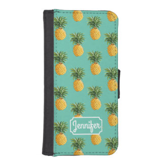 Tropical Pineapples On Teal | Add Your Name iPhone SE/5/5s Wallet Case