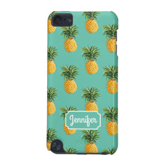 Tropical Pineapples On Teal | Add Your Name iPod Touch 5G Cover