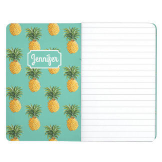 Tropical Pineapples On Teal | Add Your Name Journal