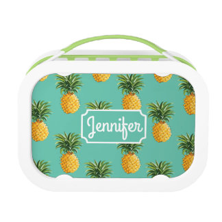 Tropical Pineapples On Teal | Add Your Name Lunch Box