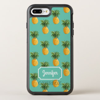 Tropical Pineapples On Teal | Add Your Name OtterBox Symmetry iPhone 8 Plus/7 Plus Case
