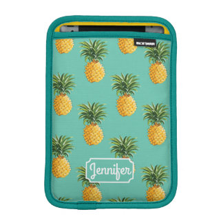 Tropical Pineapples On Teal | Add Your Name Sleeve For iPad Mini