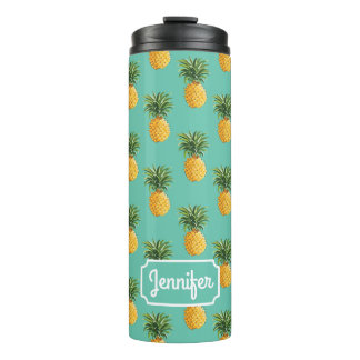 Tropical Pineapples On Teal | Add Your Name Thermal Tumbler