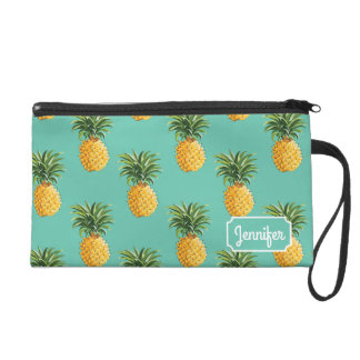 Tropical Pineapples On Teal | Add Your Name Wristlet