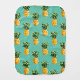 Tropical Pineapples On Teal Burp Cloth