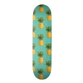 Tropical Pineapples On Teal Skateboard