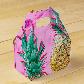 Tropical Pineapples & Pink Marble Modern Colorful Favour Box