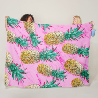 Tropical Pineapples & Pink Marble Modern Colorful Fleece Blanket