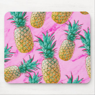 Tropical Pineapples & Pink Marble Modern Colorful Mouse Mat