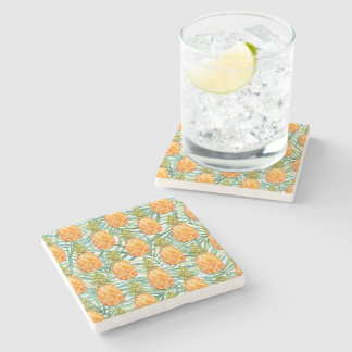 Tropical Pineapples Watercolor Stone Coaster