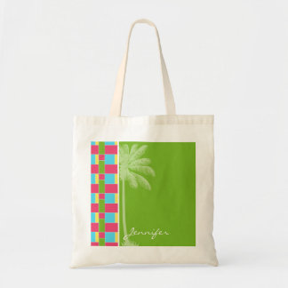 Tropical Pink, Blue, Green, & Yellow Budget Tote Bag