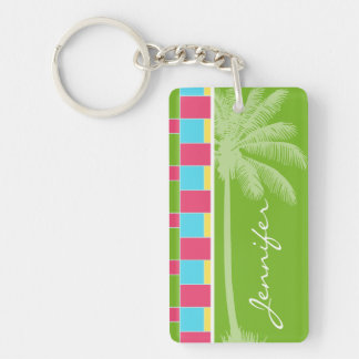 Tropical Pink, Blue, Green, & Yellow Double-Sided Rectangular Acrylic Key Ring