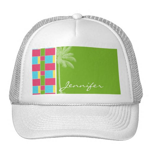 Tropical Pink, Blue, Green, & Yellow Mesh Hat