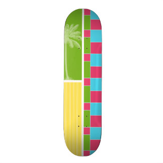 Tropical Pink Blue Green Yellow Skate Deck