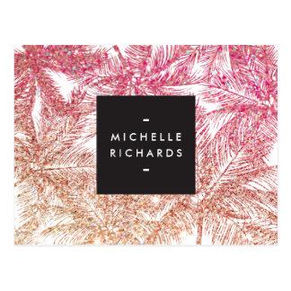 Tropical Pink/Bronze Glitter Palms Postcard