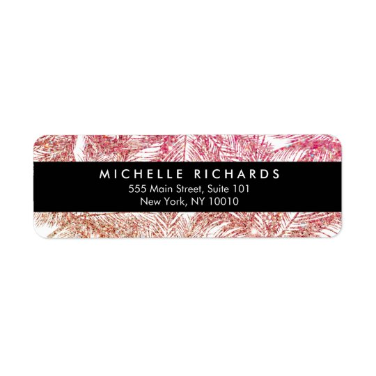 Tropical Pink/Bronze Glitter Palms Return Address Label