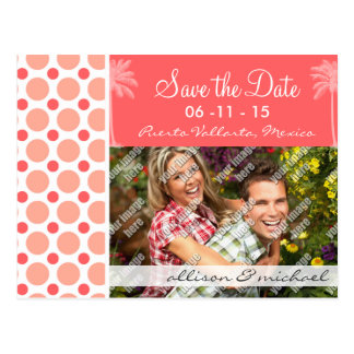 Tropical Pink & Coral Polka Dots Post Card