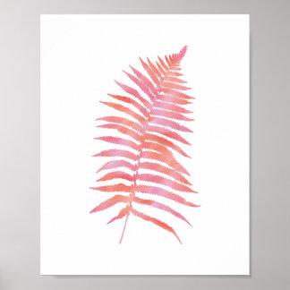 Tropical Pink Fern Leaf Watercolor Art Print