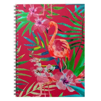 Tropical pink flamingo art notebook