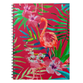 Tropical pink flamingo art notebooks