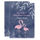 Tropical Pink Flamingo Beach Baby Shower Invite