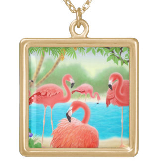 Tropical Pink Flamingo Birds Necklace