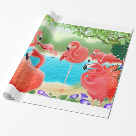Tropical Pink Flamingo Birds Wrapping Paper