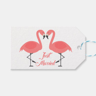 Tropical Pink Flamingo Just Married Wedding Beach Gift Tags