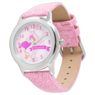 Tropical pink flamingo on marble with a banner watch
