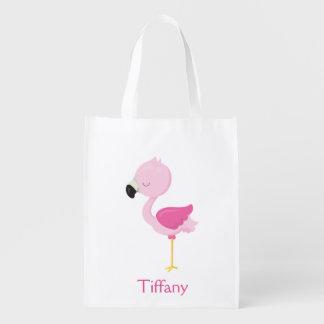 Tropical Pink Flamingo Reusable Grocery Bag