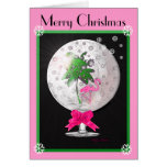 Tropical Pink Flamingo Snow Globe Christmas Card
