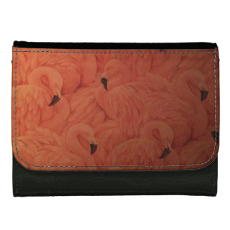 Tropical Pink Flamingos, Black Leather Wallet