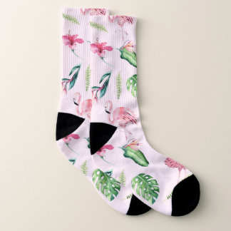 Tropical Pink Flamingos & Flowers Floral Chic Socks