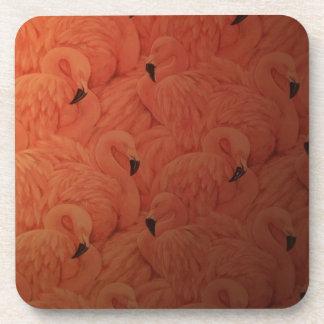 Tropical Pink Flamingos Hard Plastic Coasters