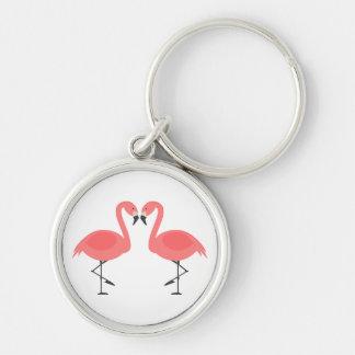 Tropical Pink Flamingos - Hawaiian, Luau Key Ring