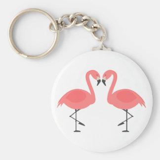 Tropical Pink Flamingos - Hawaiian, Luau Pink Love Key Ring