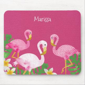 Tropical Pink Flamingos on Pink Mouse Mat